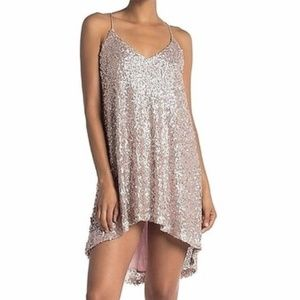 NWT Metallic Pink Sequin Strappy Cocktail Dress
